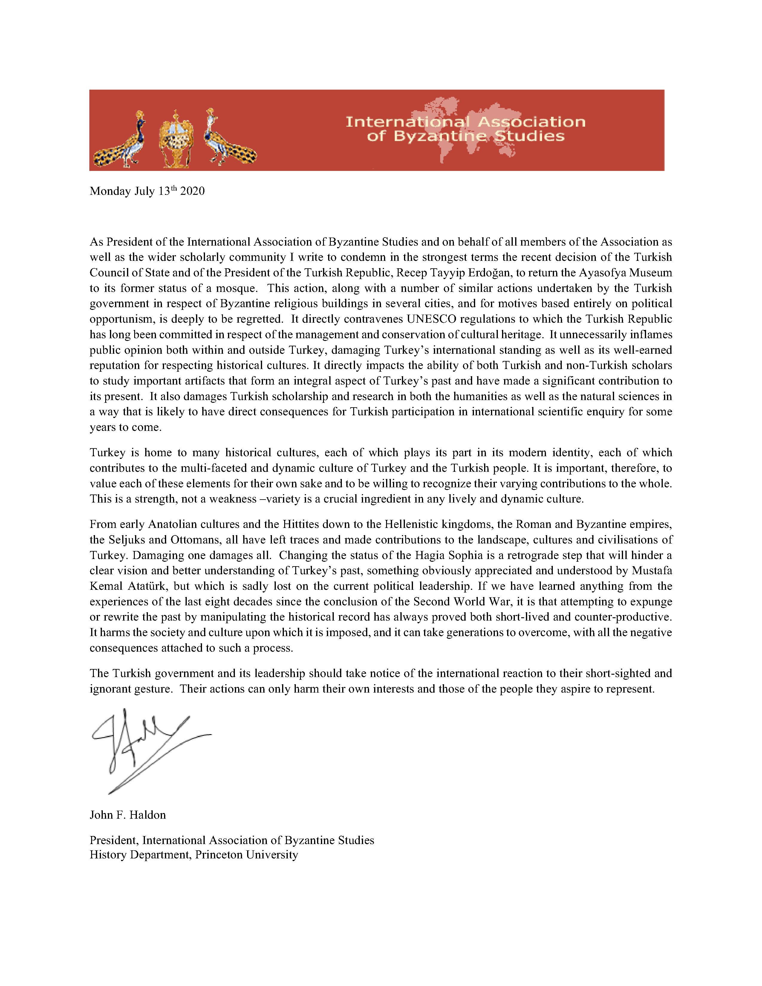 open letter re hagia sophia