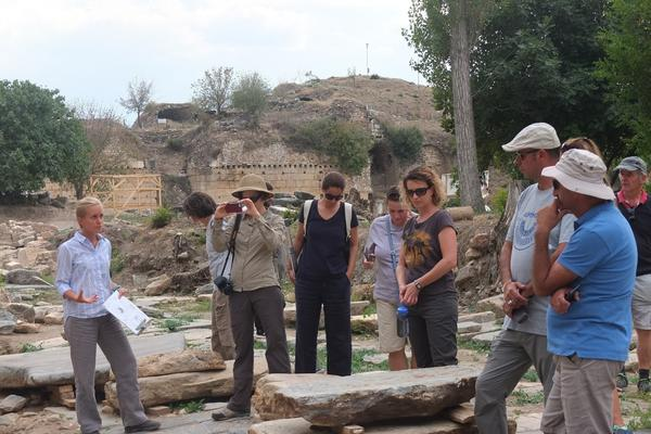 ine jacobs aphrodisias guiding a group of greek bulgarian turkish uk and us colleagues around the site