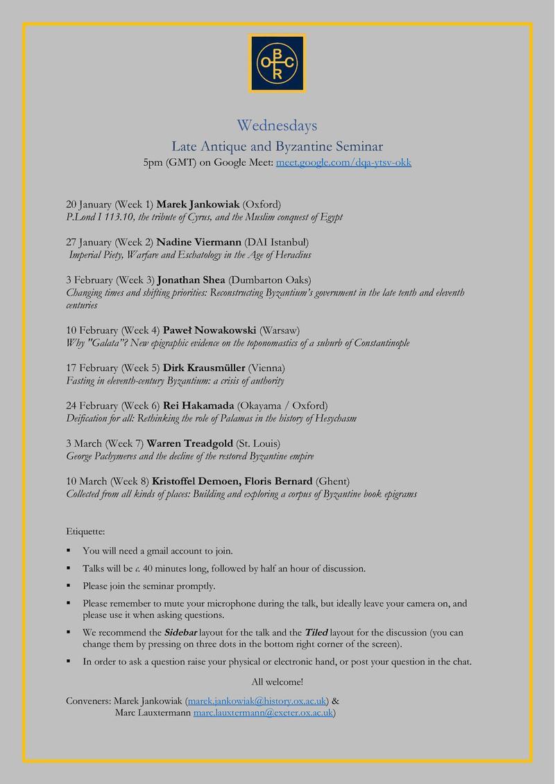 Late Antique & Byzantine Seminar Hilary Term 2021